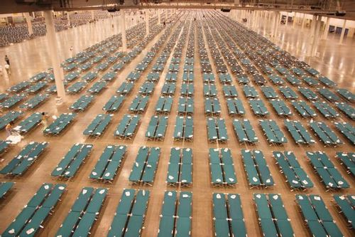 Houston, TX, September 2, 2005 -- Cots set up in the Reliant Center to provide additional housing for people being evacuated from New Orleans in t..